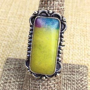 Rainbow Solar Quartz Stone Ring Size 8